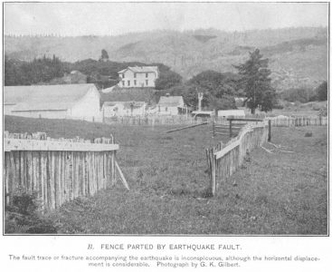 Fence Parted by Earthquake G K Gilbert