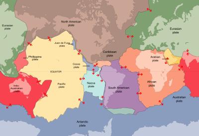 Plate tectonics boundaries map
